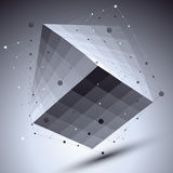 Abstract squared vector monochrome object with lines mesh over d Royalty Free Stock Photography