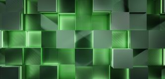 Futuristic glowing green square 3d background rendering illustration Stock Image