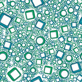 Abstract squares and circles seamless pattern. Modern green and blue colors illustration Stock Photo