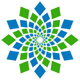 Abstract Squares Circular Element Green Blue Stock Image