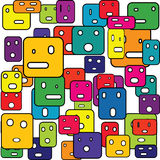 Abstract squares with facial expressions Stock Photo