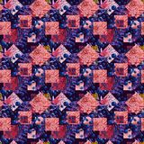 Abstract squares and rhombus seamless pattern Fond géométrique d'aquarelle dans le style de patchwork Photos stock