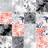 Abstract squares seamless pattern: watercolor, ink doodle flowers, leaves, weeds. Abstract squares seamless pattern: watercolor, ink doodle roses. Hand painted stock illustration