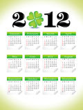 Abstract st patrick clover calender. Abstract st patrick clover US calender illustration stock illustration