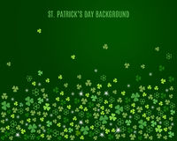 Abstract St. Patrick`s day background with sparkling clover shamrock leaves. Vector Stock Images