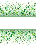 Abstract St. Patrick`s day border background template with place for your text. Clover shamrock leaves isolated on white background. Abstract St. Patrick`s day royalty free illustration