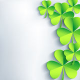 Abstract St. Patricks day card with leaf clover. Abstract St. Patricks day background with green leaf clover. Trendy stylish gray background. St. Patrick day Royalty Free Stock Photo