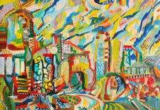 Abstract stadsolie geschilderd beeld Stock Fotografie