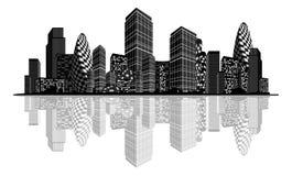 Abstract stadssilhouet Stock Afbeeldingen