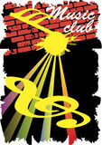 Abstract staff.Music club poster.Retro wall. Stock Images