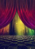 Fantasy stage with curtains. Abstract stage background with curtains and marble checkered floor Stock Photography