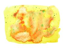 Abstract stain in watercolor colors of autumn. Orange, yellow, g stock photo