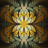 Abstract stained glass with floral pattern on black background. Stock Photos