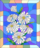 Abstract stained glass image with a bouquet of daisies in a bright frame. Illustration in stained glass style with flowers, buds and leaves of chamomile Stock Photos