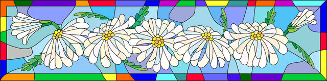 Abstract stained glass image of daisies in a bright frame. Illustration in stained glass style with flowers, buds and leaves of chamomile Stock Photo
