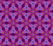 Abstract Stained Glass Pattern. Seamless mosaic geometric pattern. Stained glass ornament. Abstract texture in purple colors. Fancy multicolored background Royalty Free Illustration