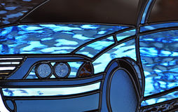 Abstract stained leadlight glass motorcar vehicle Royalty Free Stock Photography