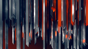 Abstract stainless steel industrial vertical red crystals column grid Royalty Free Stock Photography
