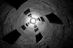 Abstract stair. Leading upward with an illuminating light at the center Royalty Free Stock Photography