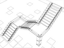 Abstract stairs - jpg version. Abstract sketch of stairs. 3d wire frame illustration Stock Image