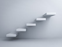 Abstract stairs or steps concept on white wall. Background Royalty Free Stock Photo