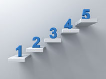 Abstract stairs or steps concept on white wall background with blue number from one to five. 3D rendering Stock Images
