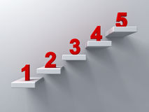 Abstract stairs or steps concept on white wall background with red number from one to five. 3D rendering Stock Photo
