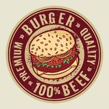 Stamp or label with big burger. Abstract stamp or label with big burger and text Burger, Premium Quality, 100 percent Beef, inside, vector illustration Royalty Free Stock Photography