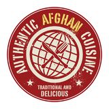 Abstract stamp or label with the text Authentic Afghan Cuisine. Written inside, vector illustration Stock Photos