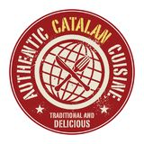 Abstract stamp or label with the text Authentic Catalan Cuisine. Written inside, vector illustration Royalty Free Stock Images