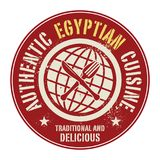 Abstract stamp or label with the text Authentic Egyptian Cuisine. Written inside, vector illustration Stock Photos