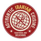 Abstract stamp or label with the text Authentic Iranian Cuisine. Written inside, vector illustration Royalty Free Stock Images
