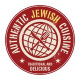 Abstract stamp or label with the text Authentic Jewish Cuisine. Written inside, vector illustration Stock Images