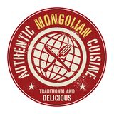 Abstract stamp or label with the text Authentic Mongolian Cuisin. E written inside, vector illustration Royalty Free Stock Photos