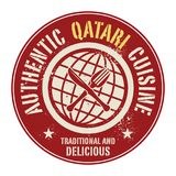 Abstract stamp or label with the text Authentic Qatari Cuisine. Written inside, vector illustration Royalty Free Stock Images