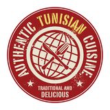 Abstract stamp or label with the text Authentic Tunisian Cuisine. Written inside, vector illustration Stock Photos