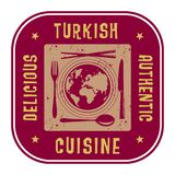 Abstract stamp or label with the text Authentic Turkish Cuisine Royalty Free Stock Image