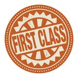 Abstract stamp or label with the text First Class written inside. Vector illustration Stock Image