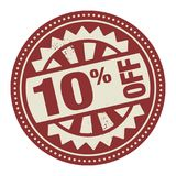 Abstract stamp or label with the text 10 percent off written ins. Ide, vector illustration Royalty Free Stock Images