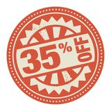Abstract stamp or label with the text 35 percent off written ins. Ide, vector illustration Royalty Free Stock Image