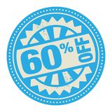 Abstract stamp or label with the text 60 percent off written ins. Ide, vector illustration Royalty Free Illustration