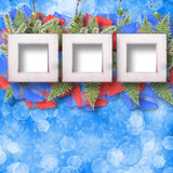 Abstract star background with wooden frame. And bunch of twigs Christmas trees Royalty Free Stock Images