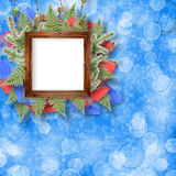 Abstract star background with wooden frame Stock Images