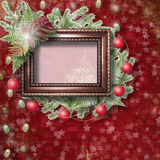 Abstract star background with wooden frame. And bunch of twigs Christmas trees Royalty Free Stock Photography