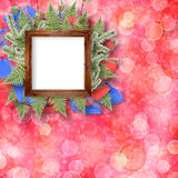 Abstract star background with wooden frame Royalty Free Stock Images