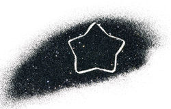 Abstract star of black glitter sparkle on white background Stock Image