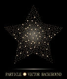 Abstract star of glowing light particles on black background. Atomic technology design Stock Image
