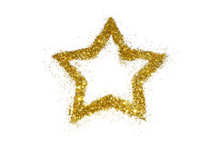 Abstract star of golden glitter sparkle on white Royalty Free Stock Image