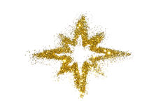 Abstract star of golden glitter sparkle on white Stock Images