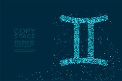 Abstract Star pattern Gemini Zodiac sign shape, star constellati. On concept design blue color illustration isolated on dark blue background with copy space royalty free illustration